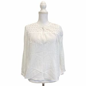 J Crew White Tunic Embroidered Lace Blouse
